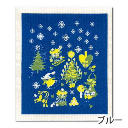 ムーミン スポンジワイプ ムーミン谷のクリスマス ブルー